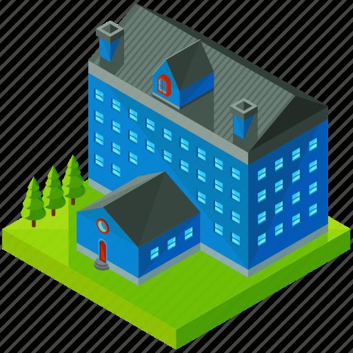 architecture, building, business, estate, hotel, school icon