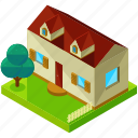 architecture, building, estate, home, house, tree icon