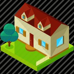 architecture, building, estate, home, house, tree icon
