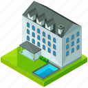 architecture, building, estate, hotel, house, pool icon