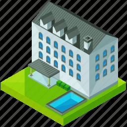 architecture, building, estate, hotel, house, pool icon