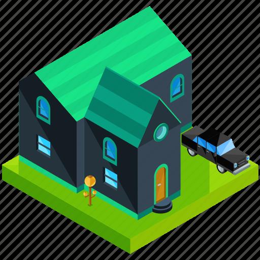 architecture, building, car, estate, home, house, vehicle icon