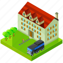 architecture, building, bus, house, mansion, tree icon
