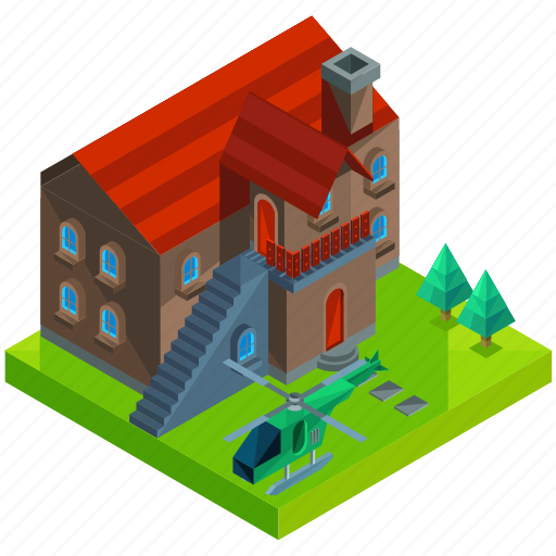 architecture, building, estate, helicopter, house, mansion, tree icon