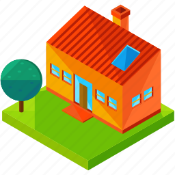 architecture, building, estate, home, house, modern, tree icon