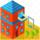 architecture, building, children, house, kids, playground icon