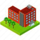 apartments, building, estate, hotel, palm, tree, tropical