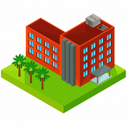 apartments, building, estate, hotel, palm, tree, tropical icon