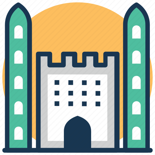 castle, citadel, fortress, historical building, landmark icon