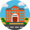 building, chalkboard, construction, school icon