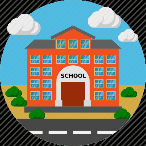 building, chalkboard, construction, school icon