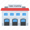 fire hall, fire house, fire station, fire station building, government building icon