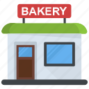 bake shop, bakehouse, baker shop, bakery, building, restaurant icon