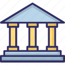 bank, building, building columns, bureau icon