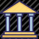 building columns, building, bank, bureau icon
