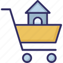 eshop, house inside cart, infographic element, online shopping icon
