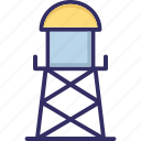 water filtration plant, water plant, water tower, water treatment plant icon