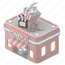 location, movie, cinema, entertainment, popcorn, silver, screen, building