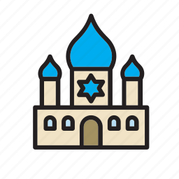 architecture, building, construction, jewish, religion, religious, synagogue icon