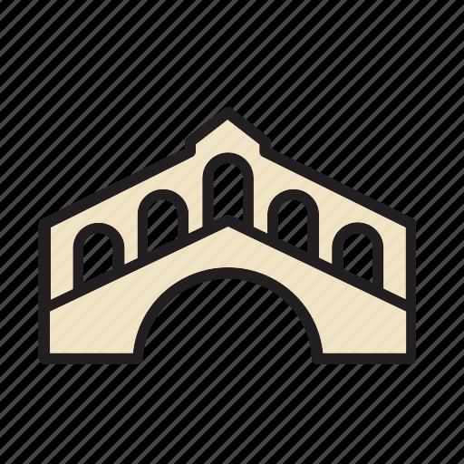 architecture, bridge, construction, landmark, monument, rialto, venice icon
