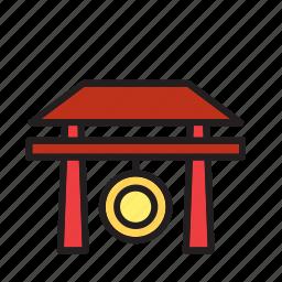 door, gong, japan, landmark, temple, tori, torii icon