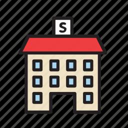 architecture, building, construction, school icon