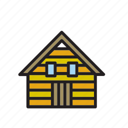 architecture, building, cabin, construction, house, wood, wooden icon