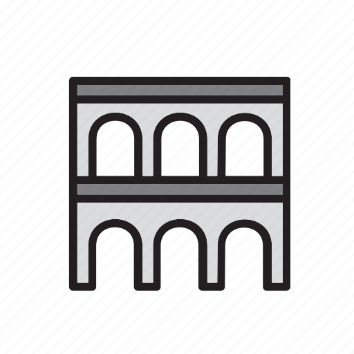 aqueduct, architecture, bridge, building, construction icon