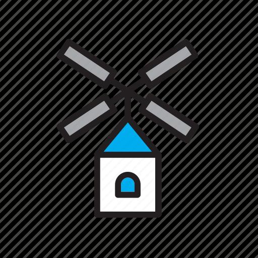 architecture, building, construction, windmill icon