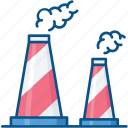 cooling tower, industrial chimneys, nuclear plant, power plant, power station icon icon