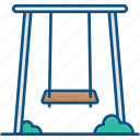amusement park, outdoor play, park, playground, swing icon icon