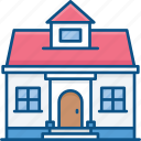 architecture, building, estate, house, real icon, school, shopping mall icon