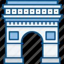 arc, de, france, landmark, monuments, paris, triomphe icon icon