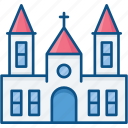 building, catholic, church, church tower icon, home, house, protestant icon