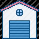 building, car, door, garage, house, open, parking building icon icon