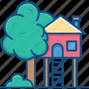 accommodation, cabin, cottage, hut, tree house, treehouse icon icon