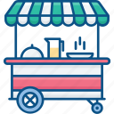 airplane, carry, drink, food, service, snack, trolley icon icon