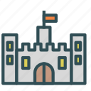 ancient, castle, construction, flag, medieval icon