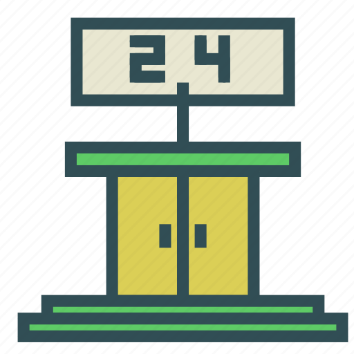 door, entrance, number, open, sign icon
