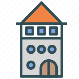 building, construction, house, tower, villa icon