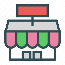 building, shop, sign, small, store icon