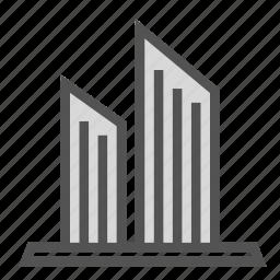 building, construction, skyscraper, twin icon