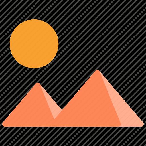 mountain, nature, scenary, sun icon
