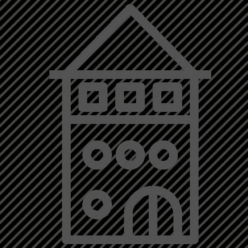 building, construction, house, tower, villa icon