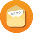 communication, envelope, letter, mail, memo, notice, read icon
