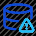 database, server, storage, error, warning