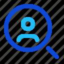 search, find, user, person icon