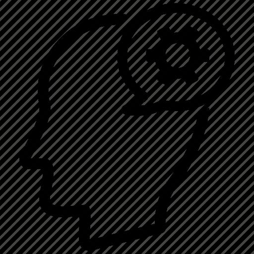 brain, man, mind, setting, user icon