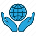 business, global, globe, hand, hand with globe, internet, web icon