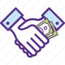agreement, business deal, contract, money handshaking, project partnership icon